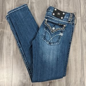 Miss Me Skinny Jeans Size 29 Bling Flap Pockets